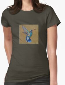 Turquoise Hummingbird Womens Fitted T-Shirt
