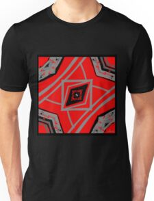 Red, Grey, Black Abstract with Red & Black Stars Unisex T-Shirt