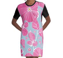 Pink Flowers Graphic T-Shirt Dress
