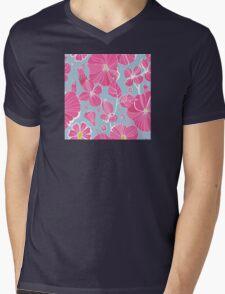 Pink Flowers Mens V-Neck T-Shirt