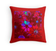Garden of Red / Pink Flowers - Mosaic Throw Pillow