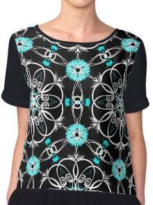 Psychedelic Pattern, Ornament, Mandala, Design, Art, Flower, Fantasy, Magic, Geometry, Black Chiffon Top