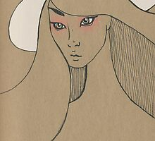 Beauty in white hat by tamii