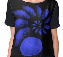 A large swirl of blue Jelly Fish Chiffon Top