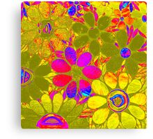 Garden of Yellow Flowers - Psychedelic Mosaic Canvas Print