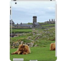 Highland Cows at Skerryvore Lighthouse Vilage, Hynish, Isle of Tiree Scotland iPad Case/Skin