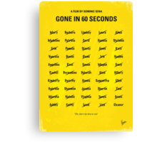 No032 My Gone In 60 Seconds minimal movie poster Canvas Print