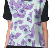 Purple Floral and Leaves Print Chiffon Top