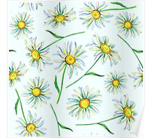 Watercolor daisies pattern Poster