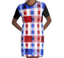Red White Blue Blocks Graphic T-Shirt Dress