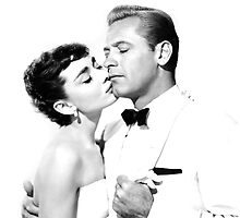 Audrey Hepburn & William Holden Pillow by Hepburnism