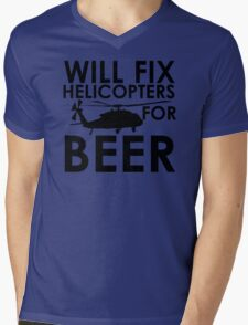 Will Fix Helicopters for Beer Mens V-Neck T-Shirt