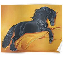 Friesian Stallion Ribbon Dance Poster