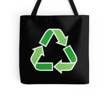 Green recycling symbol on black background tote bag Tote Bag