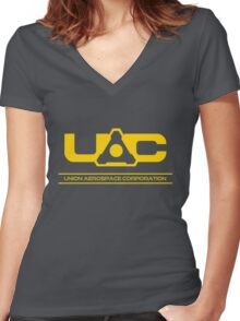 UAC - Doom Yellow Women's Fitted V-Neck T-Shirt
