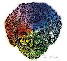 Jerry Face / Jerry Garcia portrait colorized #1 by David Sanders