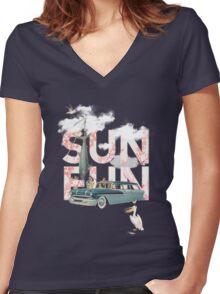 Sun Fun Women's Fitted V-Neck T-Shirt