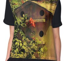 Birdhouse Covered In Honeysuckle Chiffon Top