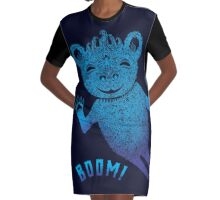 Turquoise Bear Goes Boom Graphic T-Shirt Dress