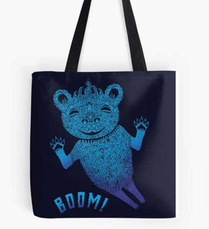 Turquoise Bear Goes Boom Tote Bag