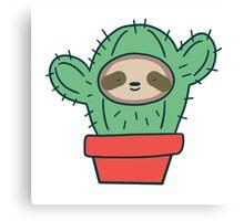 Sloth Face Cactus Canvas Print