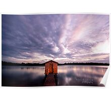 Tiny boathouse at dawn: Maroochy River, Queensland Poster