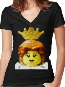 Lego Queen minifigure Women's Fitted V-Neck T-Shirt