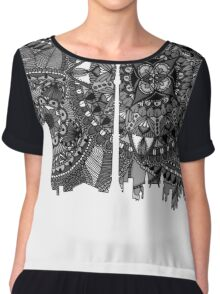 Zentangle City Moscow [Black and White] Chiffon Top