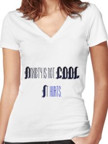 Anxiety is not cool. Women's Fitted V-Neck T-Shirt