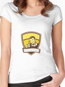 Asian Man Drinking Coffee Crest Woodcut Women's Fitted Scoop T-Shirt
