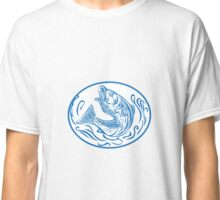 Rockfish Jumping Up Oval Drawing Classic T-Shirt