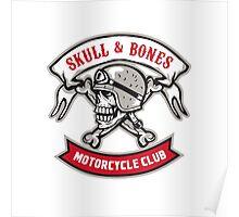 Skull Bones Bike Helmet Ribbon Retro Poster
