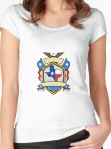 Texas State Map Flag Coat of Arms Retro Women's Fitted Scoop T-Shirt