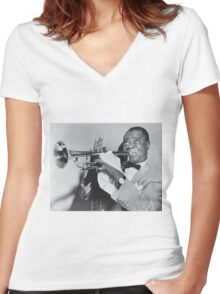 Louis Armstrong with his trumpet Women's Fitted V-Neck T-Shirt
