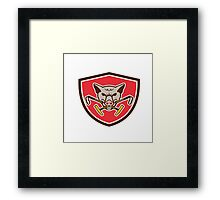 Wild Hog Head Crossed Polo Mallet Crest Retro Framed Print