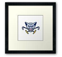 Wild Hog Head Crossed Polo Mallet Retro Framed Print