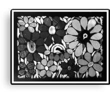 Flower Garden in B&W - Mosaic Art Canvas Print