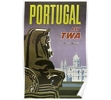 Portugal Fly TWA Vintage Travel Poster Poster