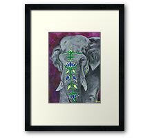 Painted Elephant - purple background Framed Print