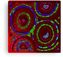 Stained Glass Psychedelic Red Circles - Mosaic Art Canvas Print