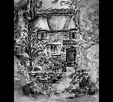 Thatched Cottage - Black & White Version of Original Painting by Heather Holland by Heatherian