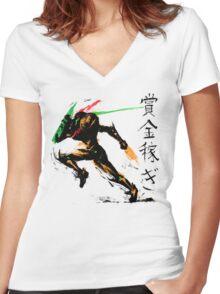 Samus Aran Women's Fitted V-Neck T-Shirt