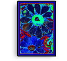 Psychedelic Blue Garden - Mosaic Art Canvas Print