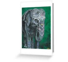 Painted elephant - Happy face Greeting Card