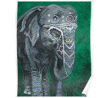 Painted elephant - Happy face Poster