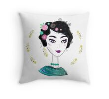 "Beautiful Art inspired by Frida isolated on white ""Emerald Collection"" Throw Pillow"