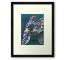 Painted elephant - Profile Framed Print