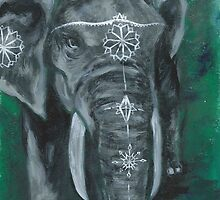 Painted elephant - white paint, on green by KoreanRussell