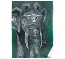 Painted elephant - white paint, on green Poster
