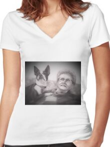 Mary and Lady Women's Fitted V-Neck T-Shirt